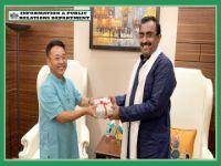 HCM SHRI P S TAMANG (GOLAY) CALLED ON THE BJP NATIONAL GENERAL SECRETARY SHRI RAM MADHAVJI ON 5.08.2019