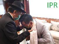 Shri P. K. Pradhan former Chief Secretary called on the Hon'ble Chief Minister Shri Prem Singh Tamang